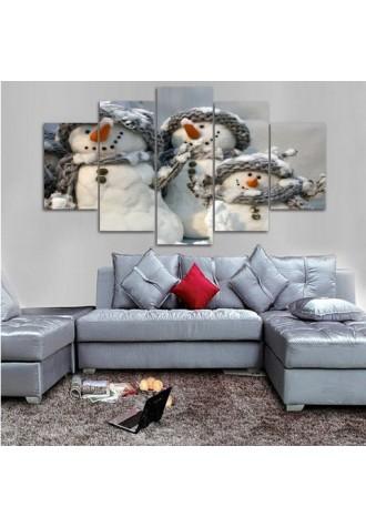 Christmas Snowman frameless oil painting