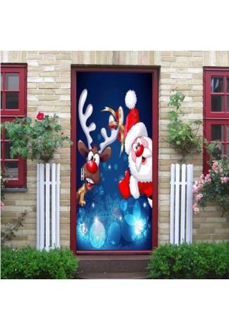 Santa's deer door sticker