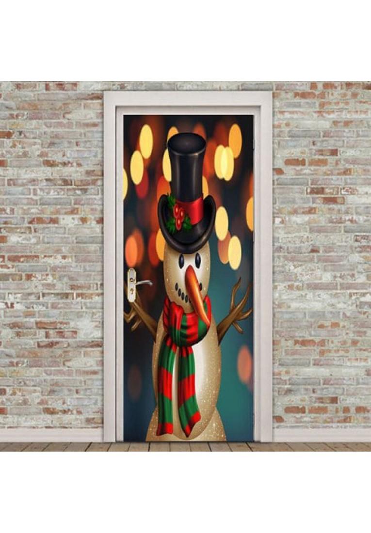 Star Christmas Snowman detachable door sticker