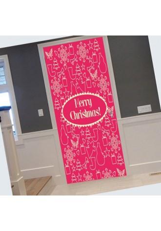 Christmas stick pattern door sticker