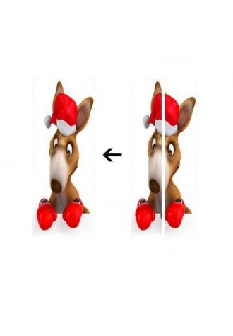 Christmas Kangaroo Boxing pattern environmental friendly removable door sticker