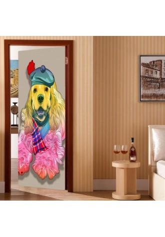 Door sticker with dog hat pattern