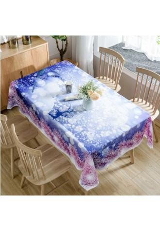 Snowy Christmas Snowman printed waterproof tablecloth
