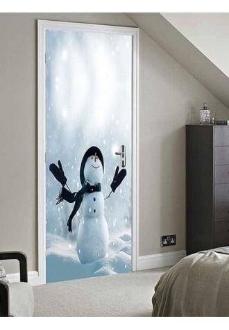 Christmas Snowman printed decorative door sticker