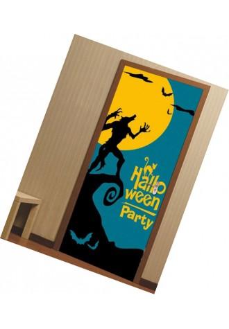 Halloween MOON WOLF bat printed door sticker