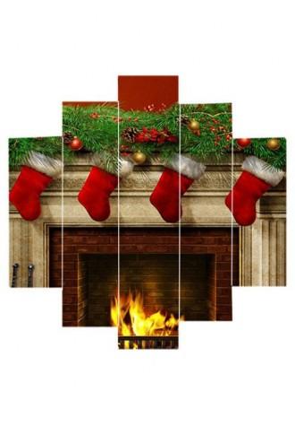 Christmas fireplace print frameless oil painting