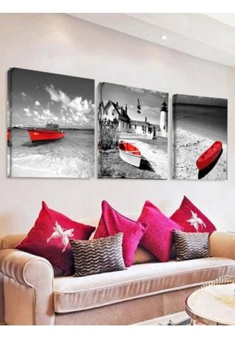 Sea boat print frameless oil painting