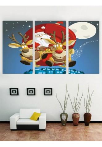 Unframed Santa deer oil painting