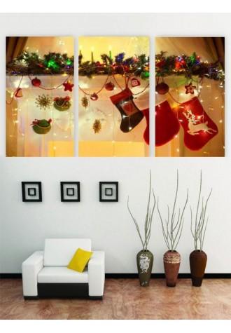 Frameless Christmas socks canvas painting