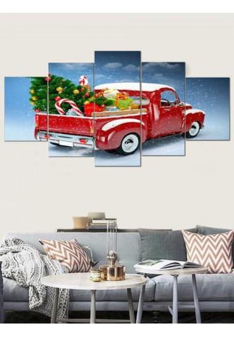 Christmas car design frameless oil painting
