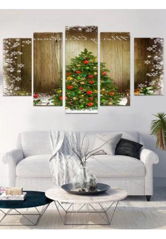 Christmas tree wood frameless oil painting