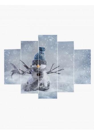 Frameless Christmas tree branch Snowman pattern oil painting