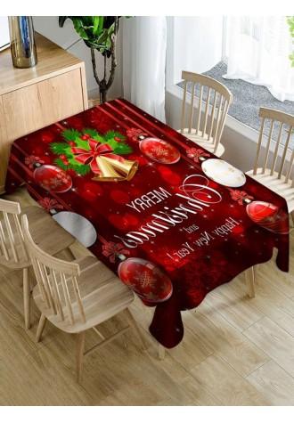 Christmas bell ball printed waterproof tablecloth