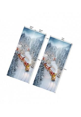 Christmas Train snow forest printed door sticker