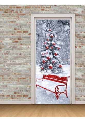 Christmas tree bench printed door sticker