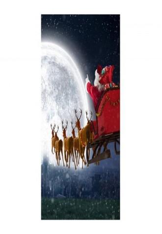 Christmas moon deer sled printed doorcase sticker