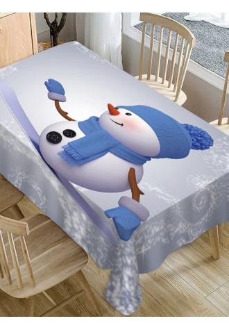 Christmas Snowman waterproof tablecloth