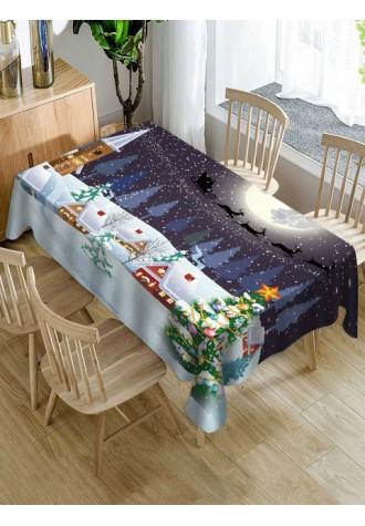 Christmas snow moon night printed tarpaulin waterproof tablecloth
