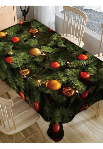 Christmas tree ball printed waterproof tablecloth