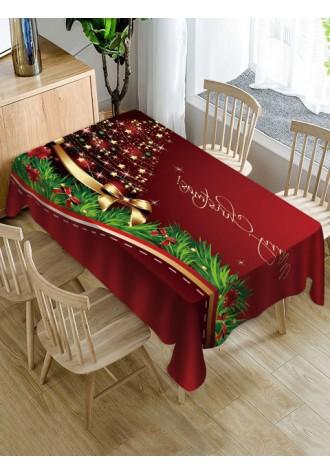 Christmas tree printed waterproof tablecloth