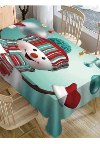 Christmas Snowman printed waterproof tablecloth