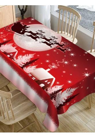 Christmas Eve deer pattern waterproof tablecloth