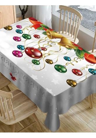 Christmas Clock ball printed waterproof tablecloth