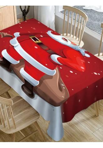 Santa printed waterproof tablecloth