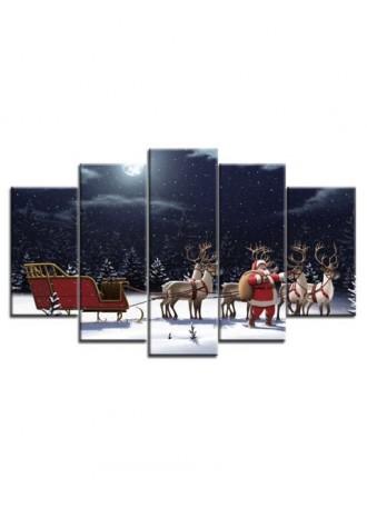 Frameless oil painting of elk sled on Christmas Eve