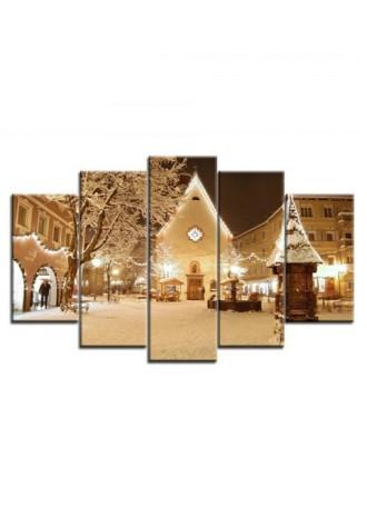 Christmas Eve Boulevard print frameless split canvas