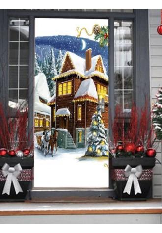 Christmas House printed door Art Sticker