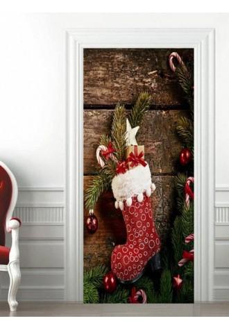 3d christmas gift silk socks pattern door Art Sticker