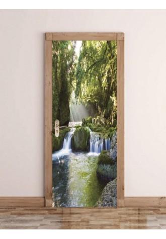Forest river printed decorative door Art Sticker